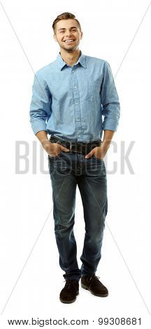 Handsome young man isolated on white