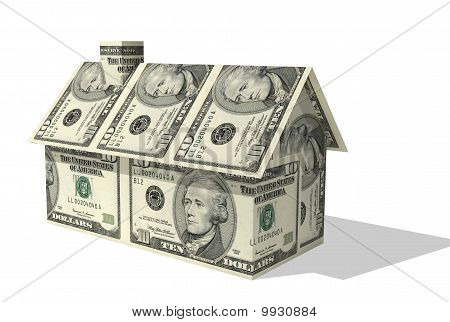 dollar house over white background rendered illustration
