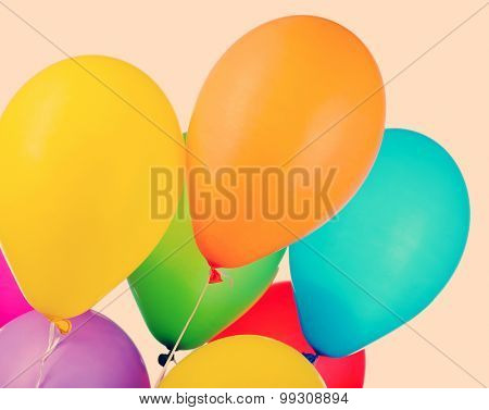 Color balloons on color background