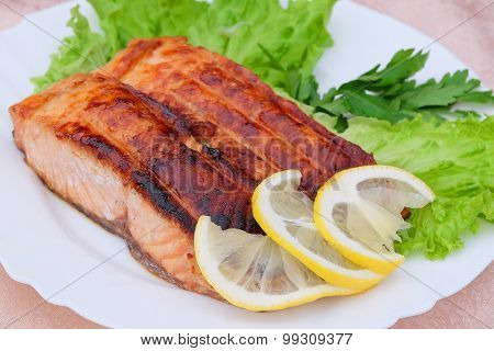 The image of a fish in a plate