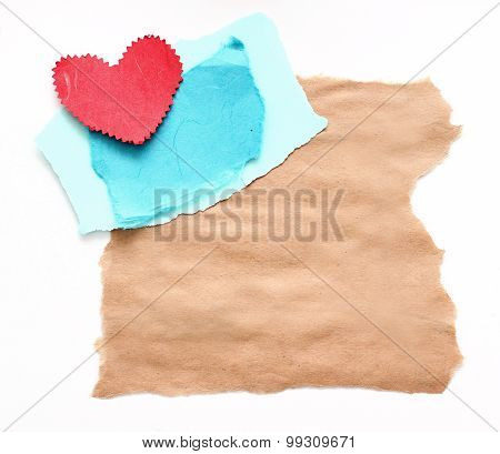 ragged piece of old paper with heart