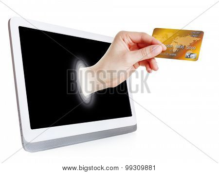 Modern tablet with credit card in hand isolated on white