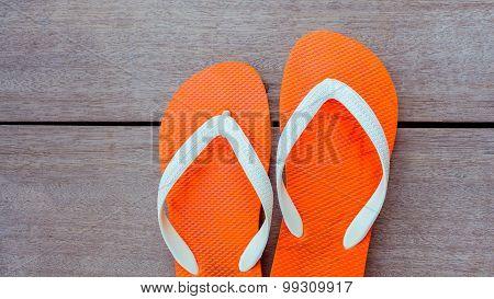 Flip Flops On Sailing Yacht Floor For Summer Background .