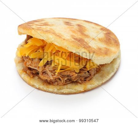 homemade arepas, venezuelan colombian food isolated on white background