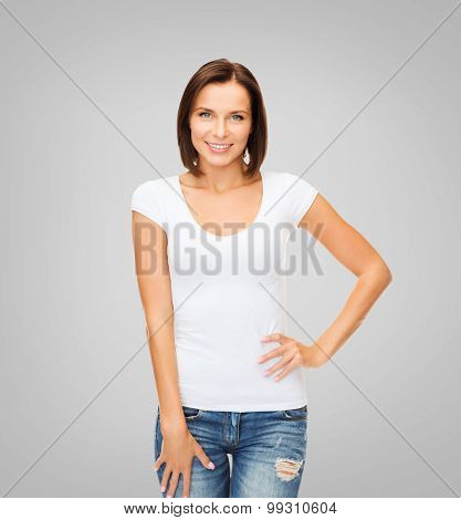 t-shirt design concept - smiling woman in blank white t-shirt