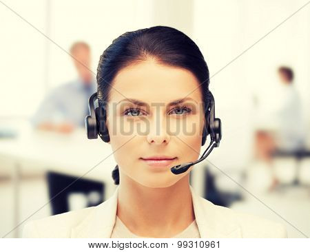 business, communication and call center - female helpline operator with headphones