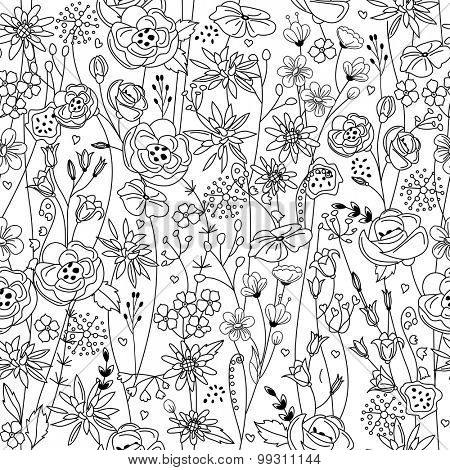 Seamless pattern with stylized contour black-and-white flowers