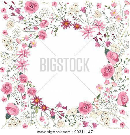 Contour summer flowers - frame with pink and red flowers on white