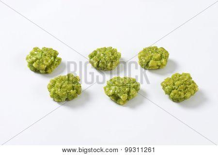 wasabi crackers on white background
