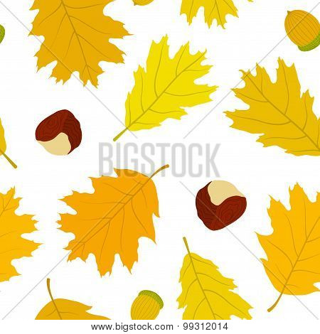 Seamless pattern of Canadian oak's leaves, acorns and chestnuts. Autumn background.