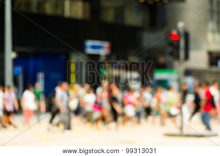 Busy Crossing Street in Hong Kong