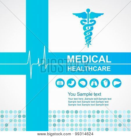 Medical healthcare - Blue cross and Caduceus and Waves of the Heart  and body organs icon vector des