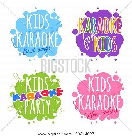 Kids Karaoke Logo. Vector Clip Art Illustration On A White Background.