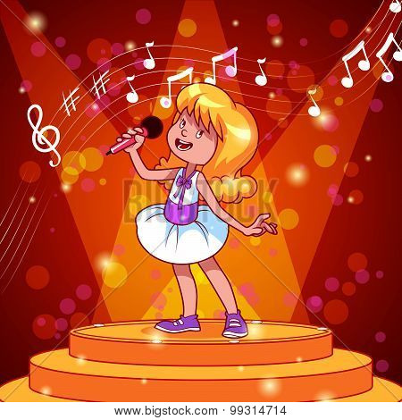 Cartoon Girl Singing With A Microphone. Vector Clip Art Illustration