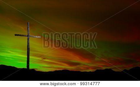 Wooden Cross At Sunrise