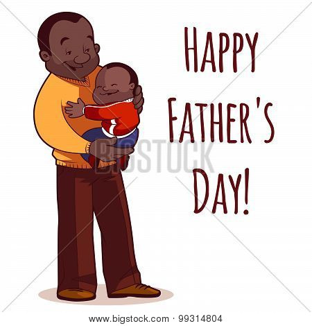 A Father Holding Son In His Arms. Element Cards For Father's Day. Vector Illustration On A White Bac
