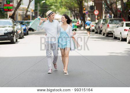 Walking In The City Street