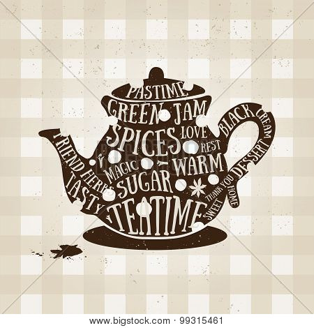 Typography poster with kettle icon. Quote for card. Vector creative print.