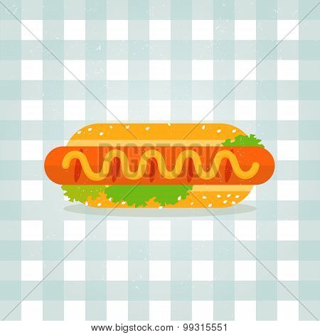 Vector icon hot dog illustration. Minimalist food icon in flat style. Sausage in a bun. Lettuce, ses