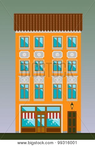 Dwelling house in Classicism style. Classical town architecture. Vector historical building.