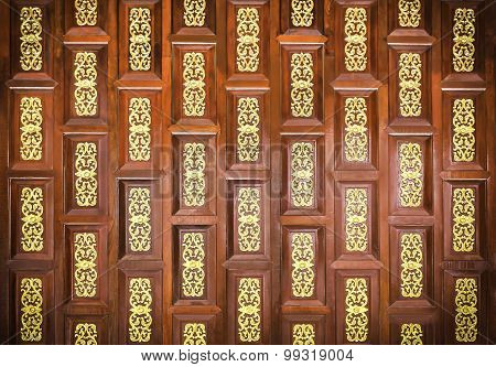 Traditional  Thai Wooden  Carving Wall