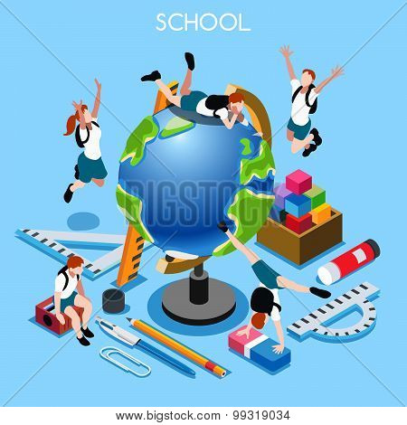 School Set People Isometric