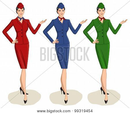 Set Of 3 Stewardesses Dressed In Uniform With Color Variants