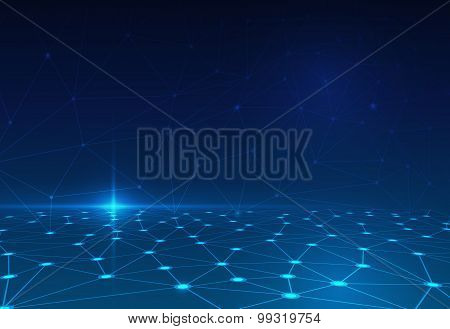 Abstract Molecule on dark blue Color Background. Vector Communication technology concept
