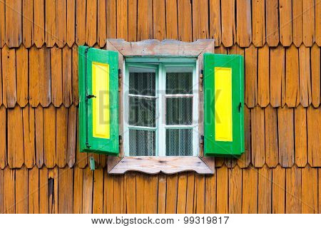 Colorful vintage wooden window shutters.