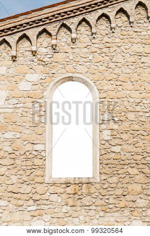 Arched Window In The Ancient Stone Wall White Isolated