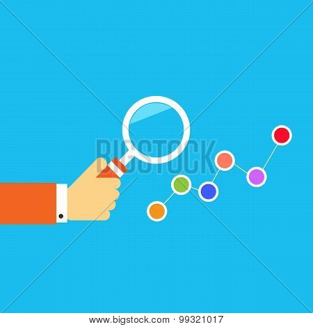 Hand With A Magnifying Glass. Concept Of Business Analysis.