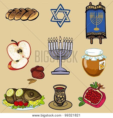 Symbols Of Rosh Hashanah (jewish New Year). Vector Illustration Iconset