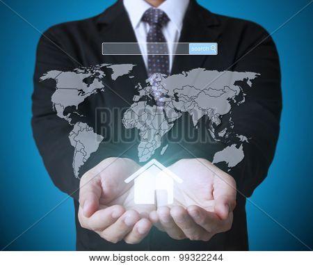 modern social button in hand