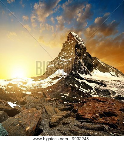 Matterhorn in the sunset - Pennine alps, Switzerland.