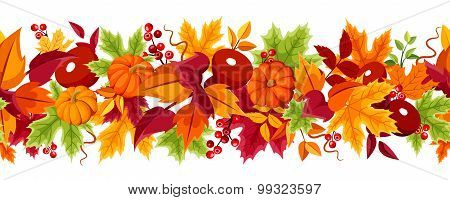 Horizontal seamless background with pumpkins and colorful autumn leaves. Vector illustration.