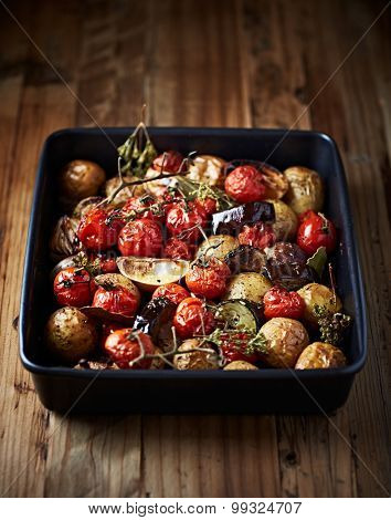 Oven-roasted vegetables in a tin