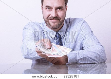 Business giving money towards camera