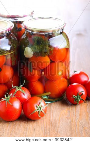 Jars With  Preserved Pickled Tomatoes