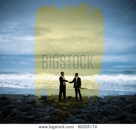 Businessmen Commitment Handshake Beach Concept