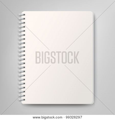 Blank realistic spiral notebook, isolated on white background