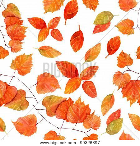 Seamless autumn leaves watercolour pattern
