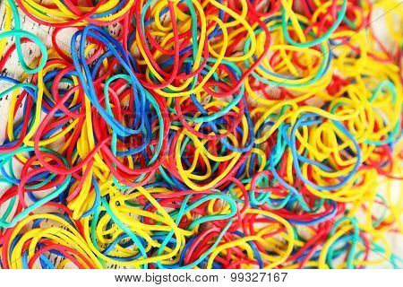Colorful rubber bands background
