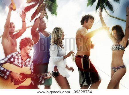 Friends Summer Beach Party Dancing Vacation Concept