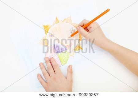 Childs Hands Drawing On A White Paper