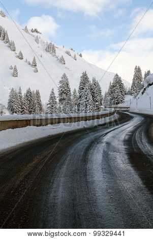 A Winding Road Between The Villages Of Warth-schr?cken And Nesslegg, Schrocken, Austria