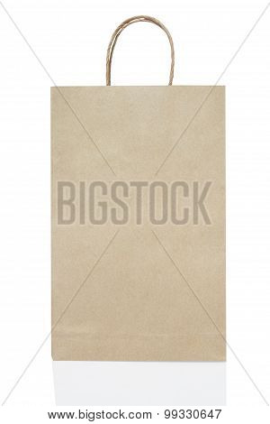 Empty Brown Paper Bag On White Background Include Path