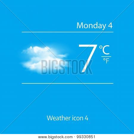 Realistic weather icon - Overcast, clouds. Vector illustration