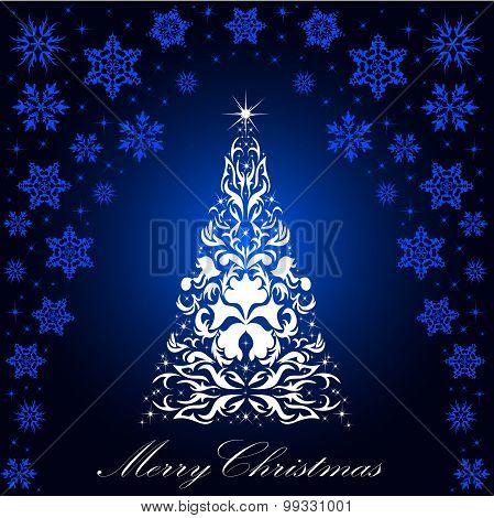 Christmas Card With A Christmas Tree . Vector