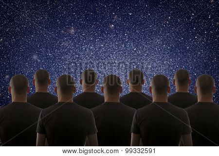Universe. Starry sky and silhouette of man