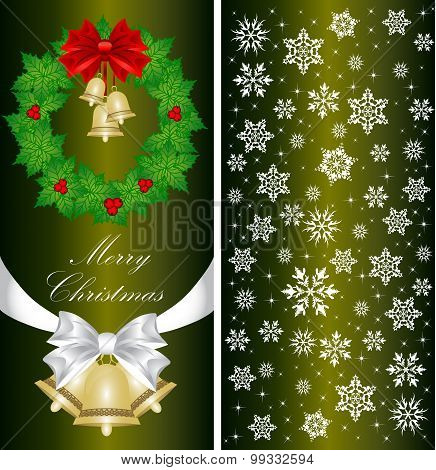 Christmas Card With A Christmas Tree With A Bow, A Ribbon And A Christmas Bell. Vector